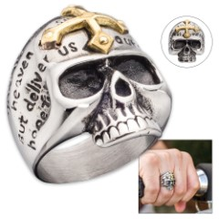 Skull Ring With Gold Cross
