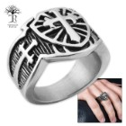 Cross Shield Men's Stainless Steel Ring - Sizes 9-12