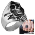 """Angel of Death"" / Grim Reaper Skull Men's Stainless Steel Ring - Sizes 9-12"