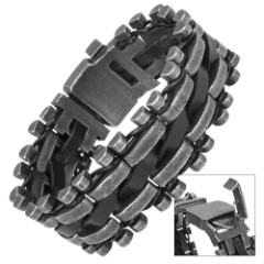Iron and Hide - Gray Steel Bars and Black Leather Bracelet