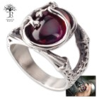 Red Roots - Men's Stainless Steel Ring with Red Stone Accent