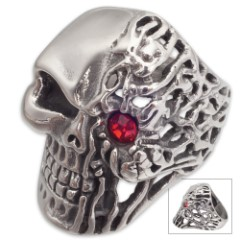 Cyborg Rage Stainless Steel Men's Ring - Half Human, Half Machine Skull with Red Jewel Accent