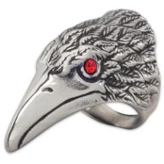 Red Eye Raven Stainless Steel Men's Ring