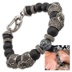 Xenolith by Twisted Roots - Bracelet with Snowflake Obsidian and Lava Beads; Stainless Steel Skulls