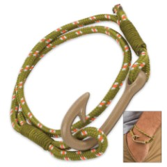 Fish Hook Paracord Bracelet - Green Cord, Brass-Colored Hook