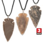 Arrowhead Black Leather Cord Necklace - Three-Pack