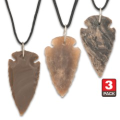 Arrowhead Black Leather Cord Necklace – Three-Pack