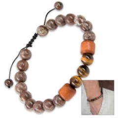 Nature Stone Bracelet - Polished Stone Beads with Wooden Accents