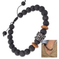 Lava Stone And Wooden Bead Bracelet