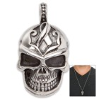 Stainless Steel Breast Cancer Awareness Skull Pendant on Chain