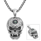 Embellished Compass Skull Pendant on Chain - Stainless Steel Necklace