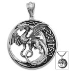 Celtic Dragon Pendant on Chain - Stainless Steel Necklace