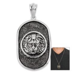 Lion's Head Medallion Pendant And Chain