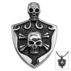 Two-Skulls Shield Pendant on Chain - Stainless Steel Necklace