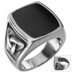 Twisted Roots Celtic Black Stone Ring