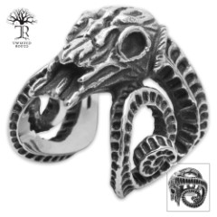 Twisted Roots Ram Skull Ring