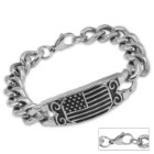 American Flag Stainless Steel Chain Link ID-Style Bracelet