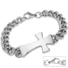 Cross Centerpiece Stainless Steel Chain Link Bracelet