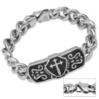 Cross in Shield Stainless Steel Chain Link ID-Style Bracelet