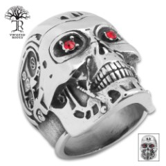 Twisted Roots Terminator Skull Ring