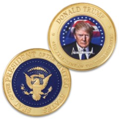Donald Trump Full-Color Presidential Coin - Crafted Of Metal-Alloy, Gold-Plated, Collector's Item, Intricate Colorful Detail, 40 mm - Dimensions 1 1/2""