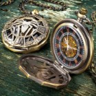 Arachnophobia Pocket Watch With Chain - Antique Bronze Finish, Analog Dial, Pocket Clip