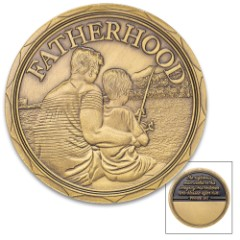 Fatherhood Challenge Coin - Crafted Of Metal Alloy, Detailed 3D Relief On Each Side, Collectible - Diameter 1 5/8""