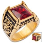 Red Jeweled Medici Ring - Two-Toned Stainless Steel Construction, Faux Jewel, Remarkable Detail - Available In Sizes 9-12