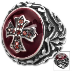 Crusader Red Jeweled Cross Ring - Stainless Steel Construction, Faux Jewels, Remarkable Detail - Available In Sizes 9-12
