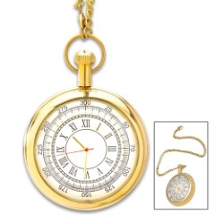 Antique Replica Brass Pocket Watch And Chain - Solid Brass Construction, High-Polish Finish, Roman Numerals - Diameter 2""
