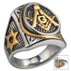 Mason Seal Ring - Stainless Steel With Gold Accents, Lifetime Of Wear, Highly Detailed, High-Quality, Everyday Wear