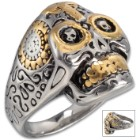 Two-Tone Grinning Skull And Cross Ring - Stainless Steel Construction, Gold Accents, Lifetime Of Wear, Highly Detailed, High-Quality, Everyday Wear