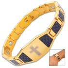 Gold And Blue Carbon Fiber Cross Bracelet - 3Cr13 Stainless Steel, Health Element Magnets Inside - Length 8 1/2""