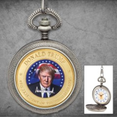 """President Trump Pocket Watch And Chain - Metal Alloy Construction, Antique Finish, Full Color Portrait - Diameter 1 3/4"""""""