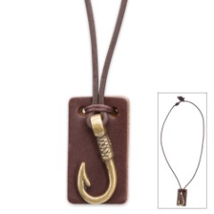 Antique Brass Fishhook w/ Leather Backing on Leather Cord Necklace