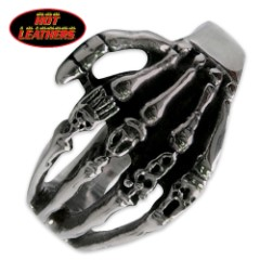Hot Leathers Skeleton Hand Ring Silver
