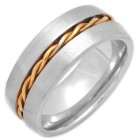 Men's Stainless Steel Ring With Spiral Golden Wire Inlay