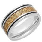 Men's 2-Tone Stainless Steel Ring - Black Enamel, 18k Gold Plated Accents