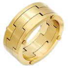 Men's 18k Gold-Plated Stainless Steel Ring w/ 3 Interlocking Bands