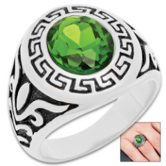 Men's Greek Key Design And Simulated Green Diamond Ring - Stainless Steel Construction, Intricate Detail, Everyday Wear