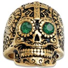 Cross Sugar Skull Ring With Emerald Green Eyes - 18K Gold-Plated Stainless Steel Construction, Faux Jewels, Available In Sizes 9-12