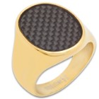 Men's 18K Gold Plated Stainless Steel Black Carbon Fiber Ring - Lifetime Of Wear, Highly Detailed, High-Quality