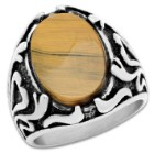 Men's Stainless Steel Tiger Eye Ring - Lifetime Of Wear, Highly Detailed, High-Quality
