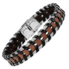 Men's Steel Cable And Leather Bracelet
