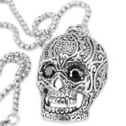 Men's Filigree Sugar Skull Pendant - With Chain