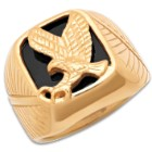 Eagle Emblem Men's Ring - 18k Gold Plated Stainless Steel