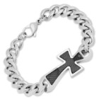 Stainless Steel Link Bracelet With Black Cross