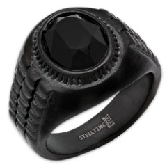 Men's Black Stainless Steel Ring With Black Jewel Inset