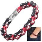 Men's Cycle Chain Red And Black Bracelet