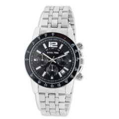 Men's Stainless Steel And Black IP Alloy Face Watch